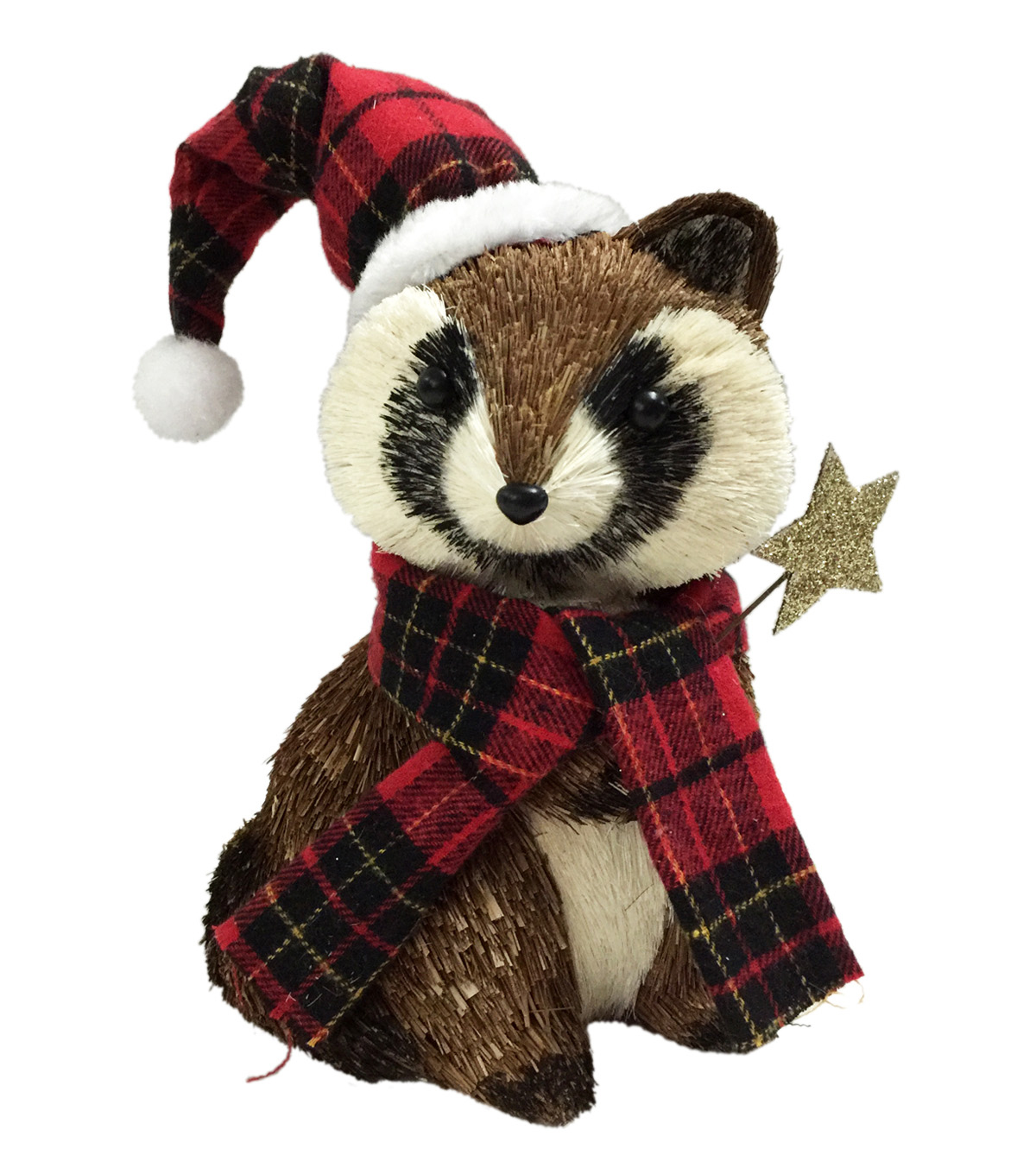 Blooming Holiday Raccoon With Plaid Santa Hat & Star
