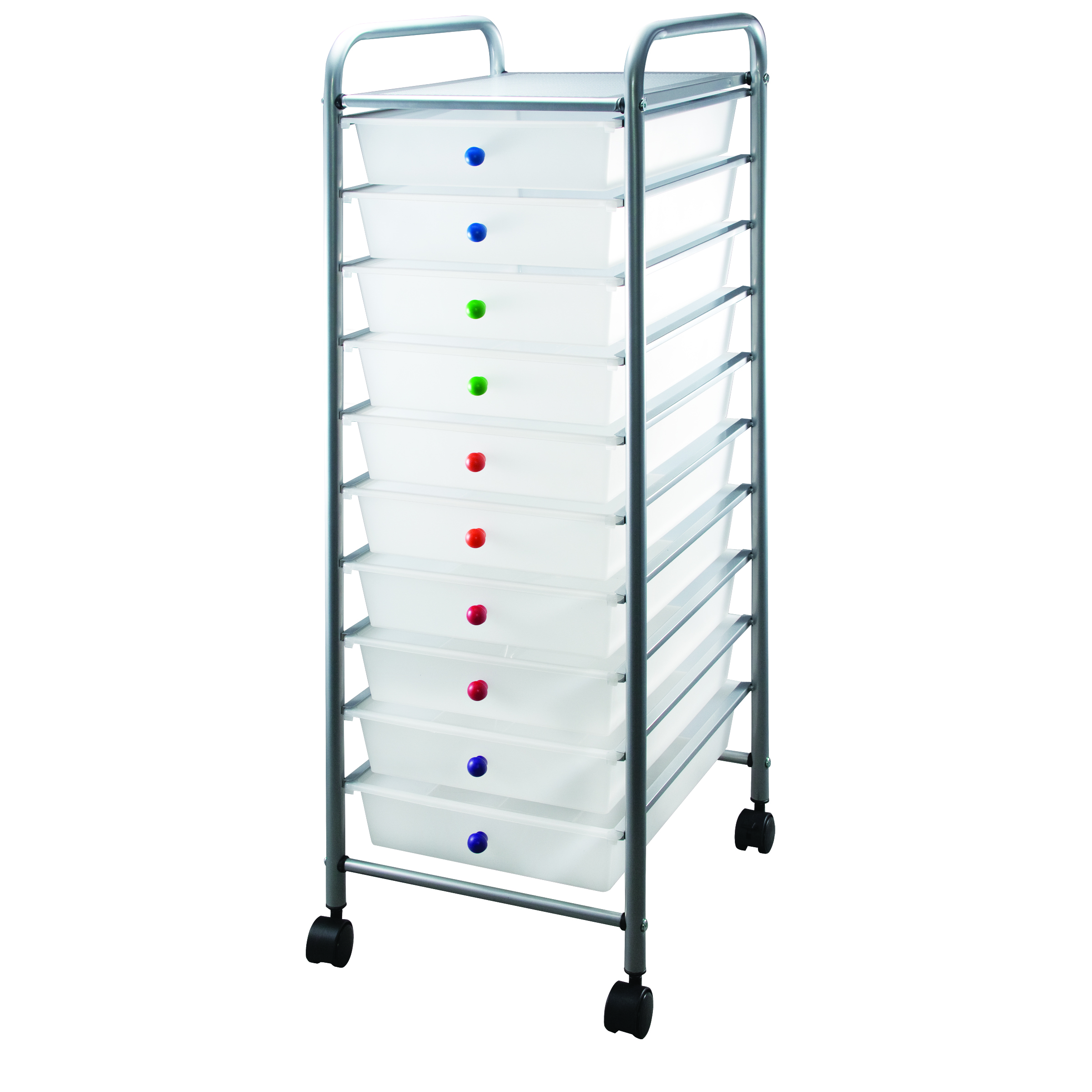 clear 10 drawer cart with colored knobs