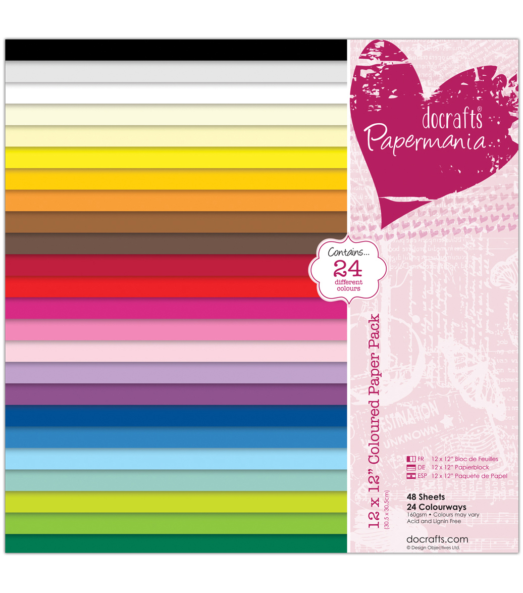 Papermania Paper Pack 12\u0022X12\u0022 48/Pkg-Coloured