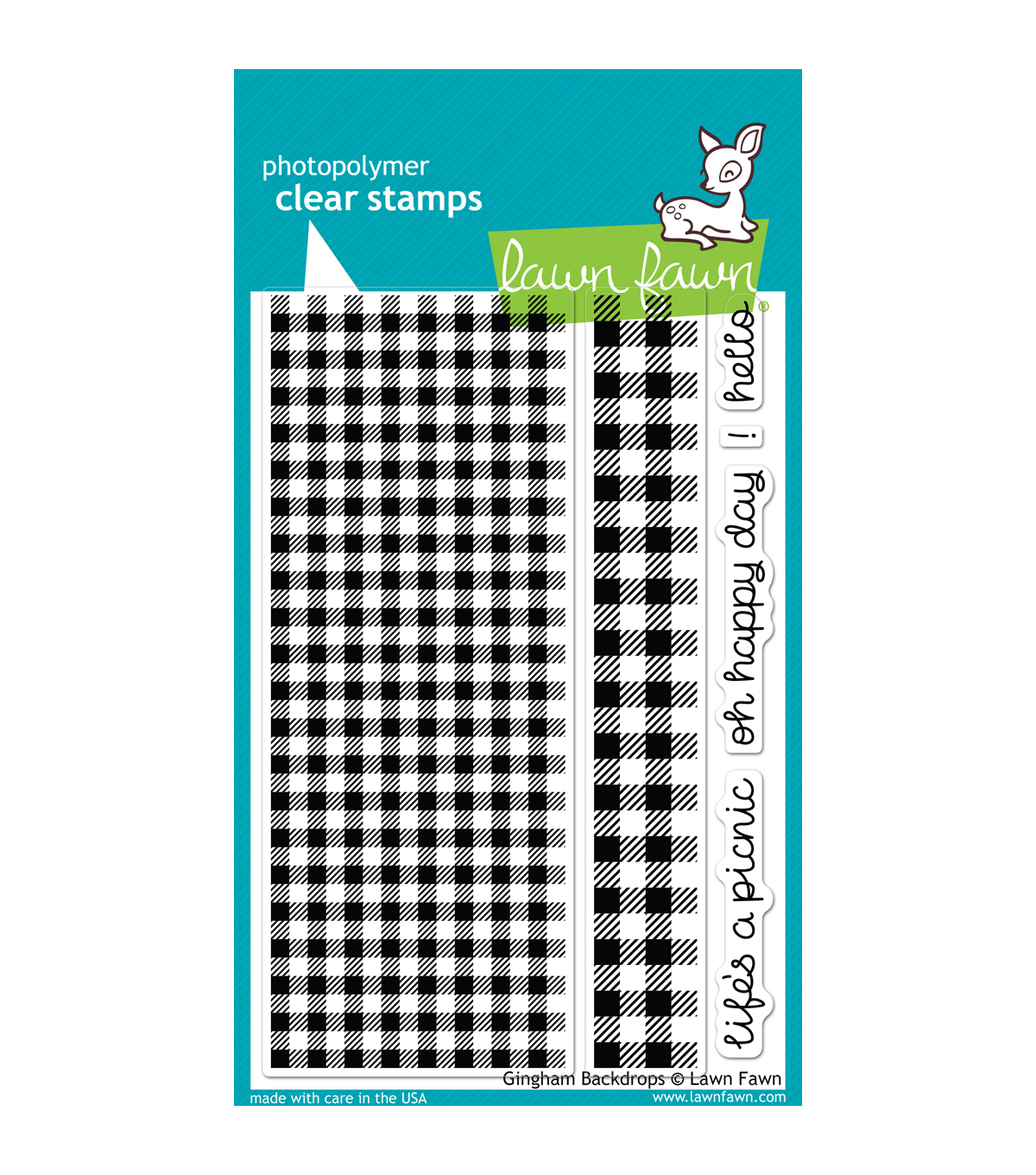 Lawn Fawn Clear Stamps 4\u0022X6\u0022-Gingham Backdrops
