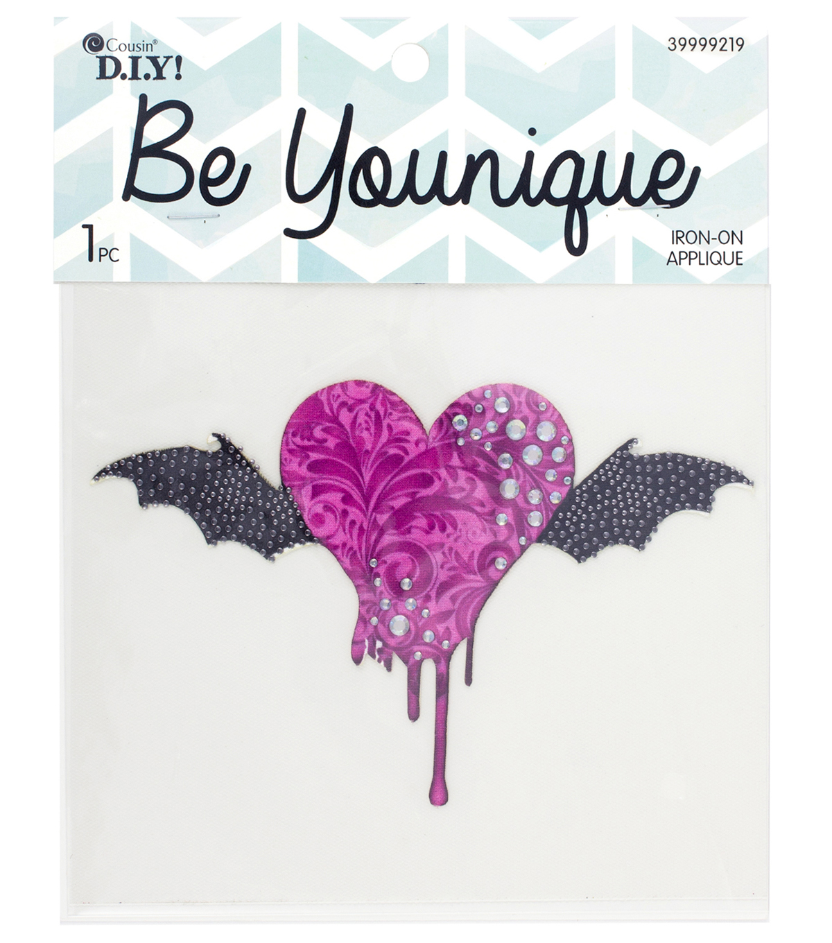 Cousin® DIY Be Younique Iron-On Transfer-Bat Heart