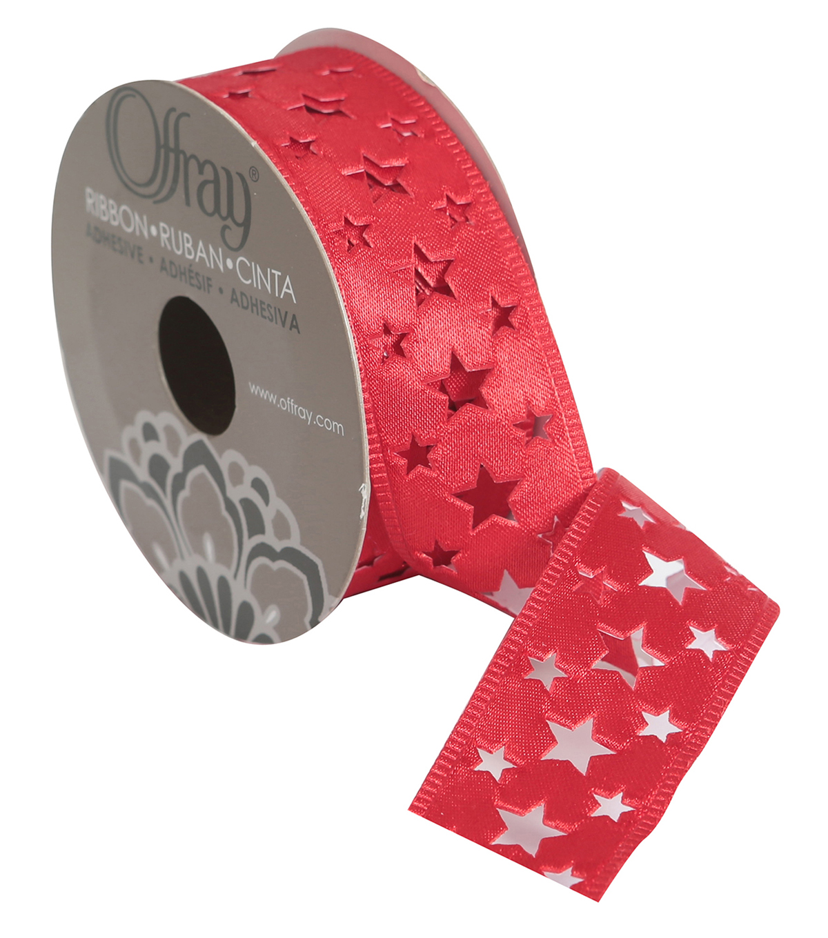 "Offray 1 1/8"" x 9' Die Cut Star Ribbon-Red"