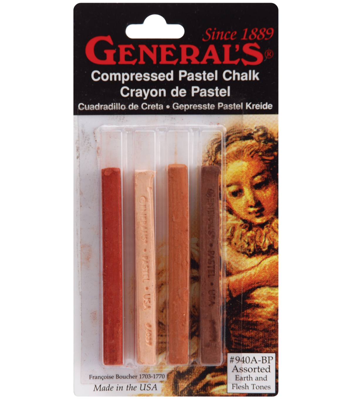 General Pencil Compressed Pastel Crayons-Earthtones