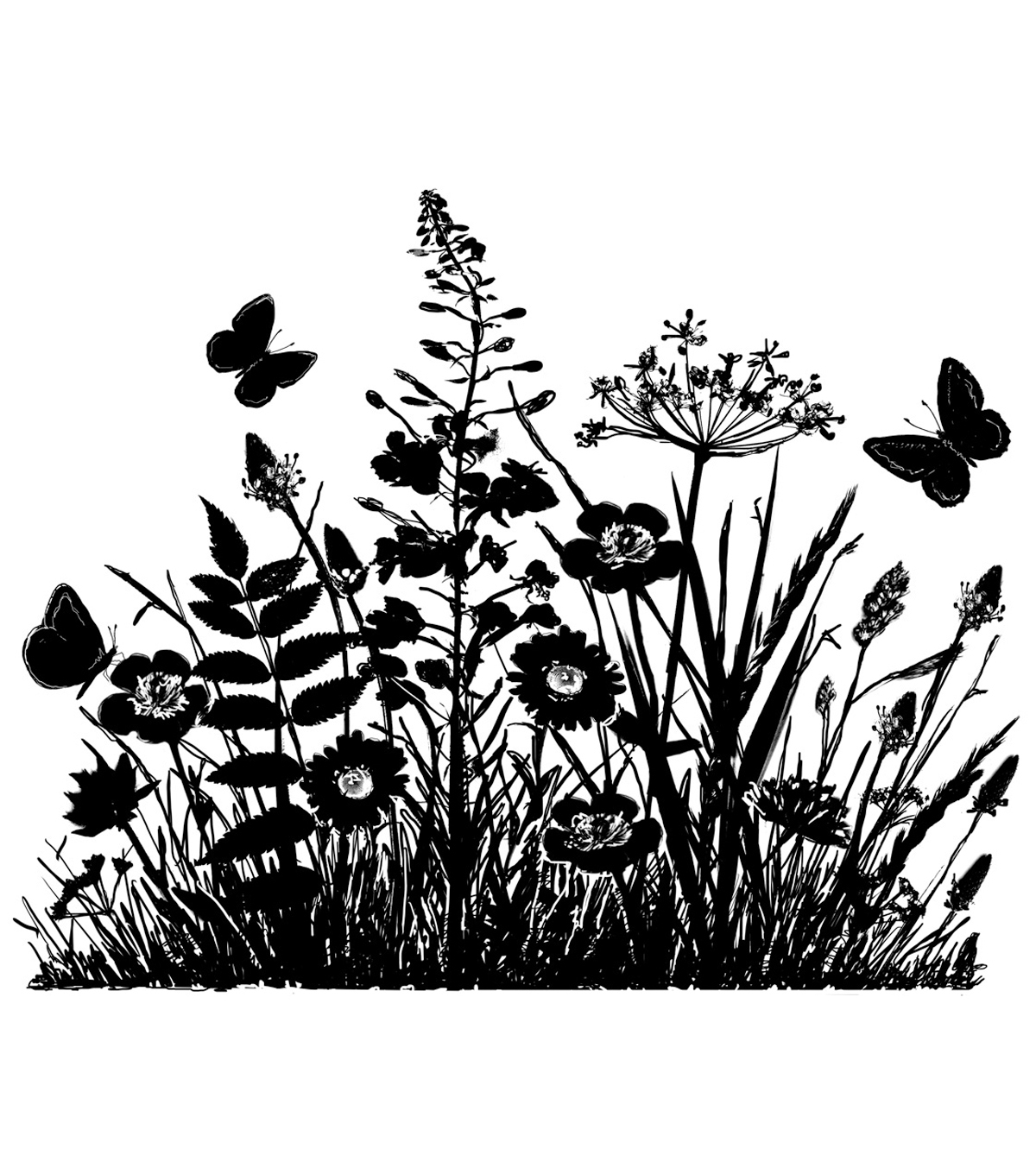 Crafty Individuals Unmounted Rubber Stamp Wild Flowers & Butterflies