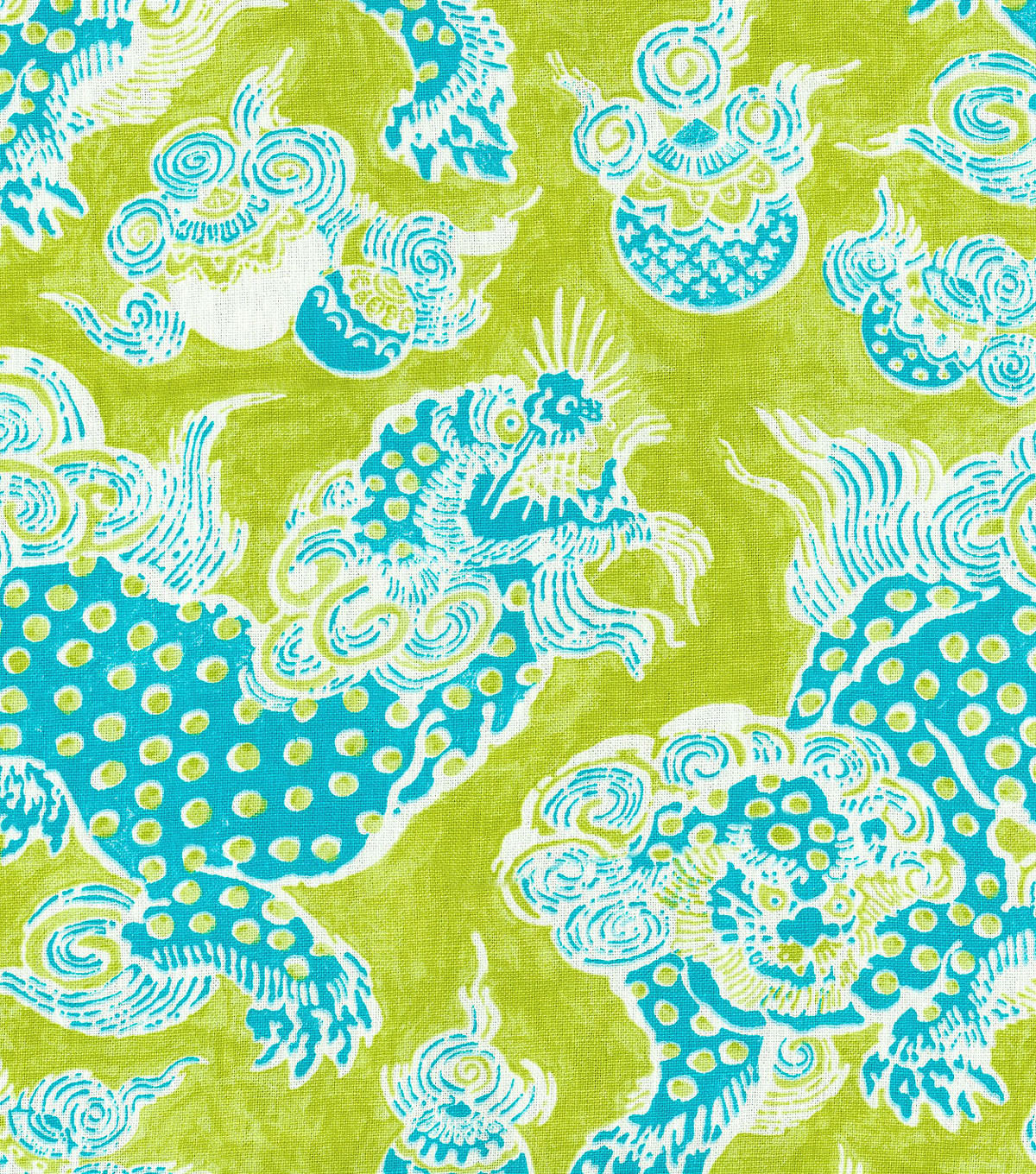 P/K Lifestyles Print Fabric-Dunmore Dragons/Citron