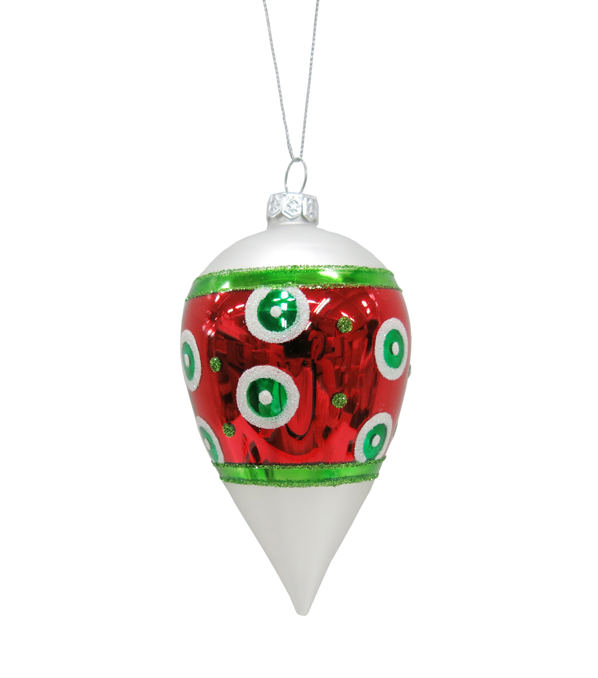 Maker\u0027s Holiday Whimsy Workshop Teardrop Bulb Ornament-Green Dots on Red