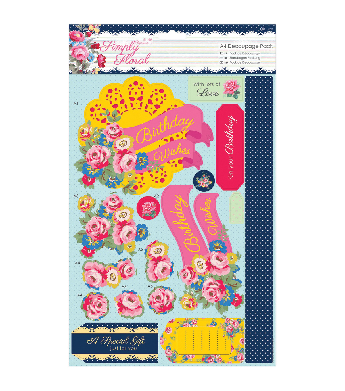 Papermania Simply Floral Bright Blooms A4 Decoupage Pack