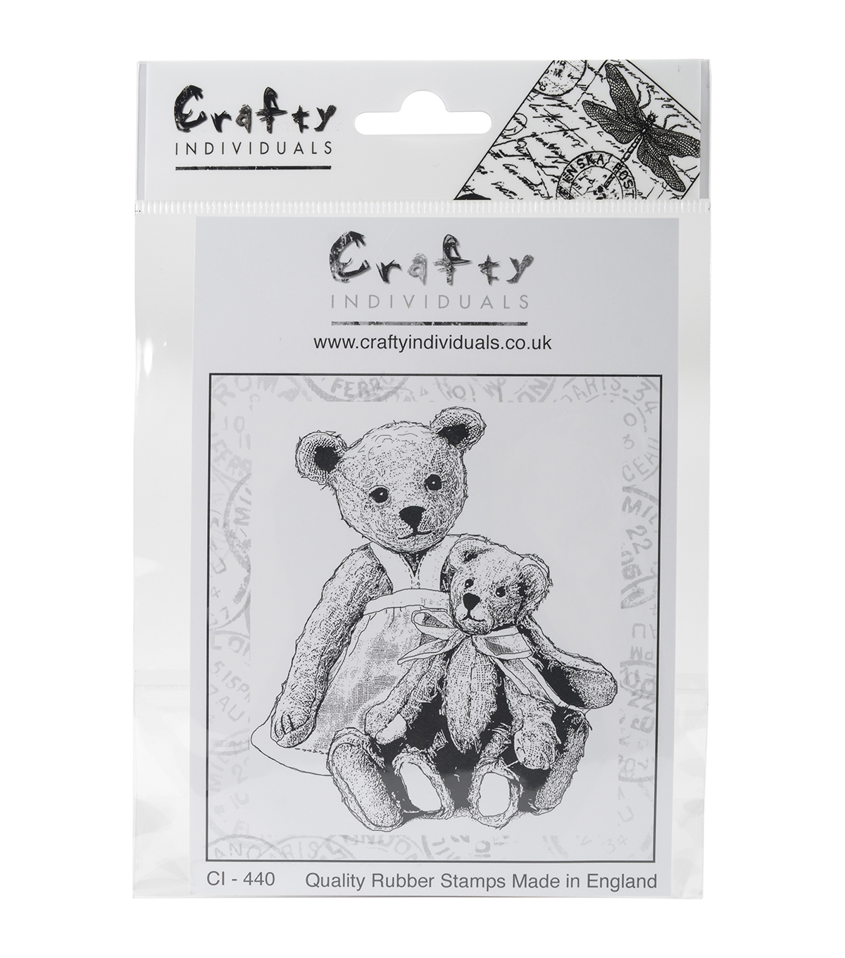 Crafty Individuals Unmounted Rubber Stamp-Two Teds