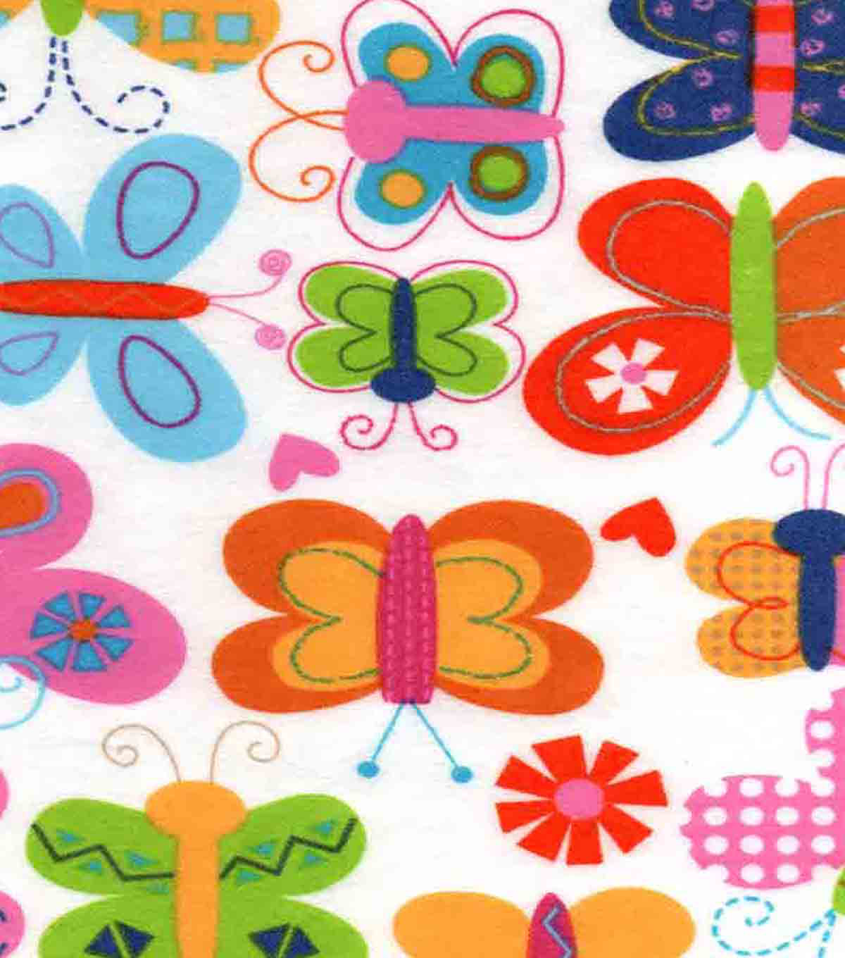Snuggle Flannel Fabric 42\u0027\u0027-Girlie Butterflies