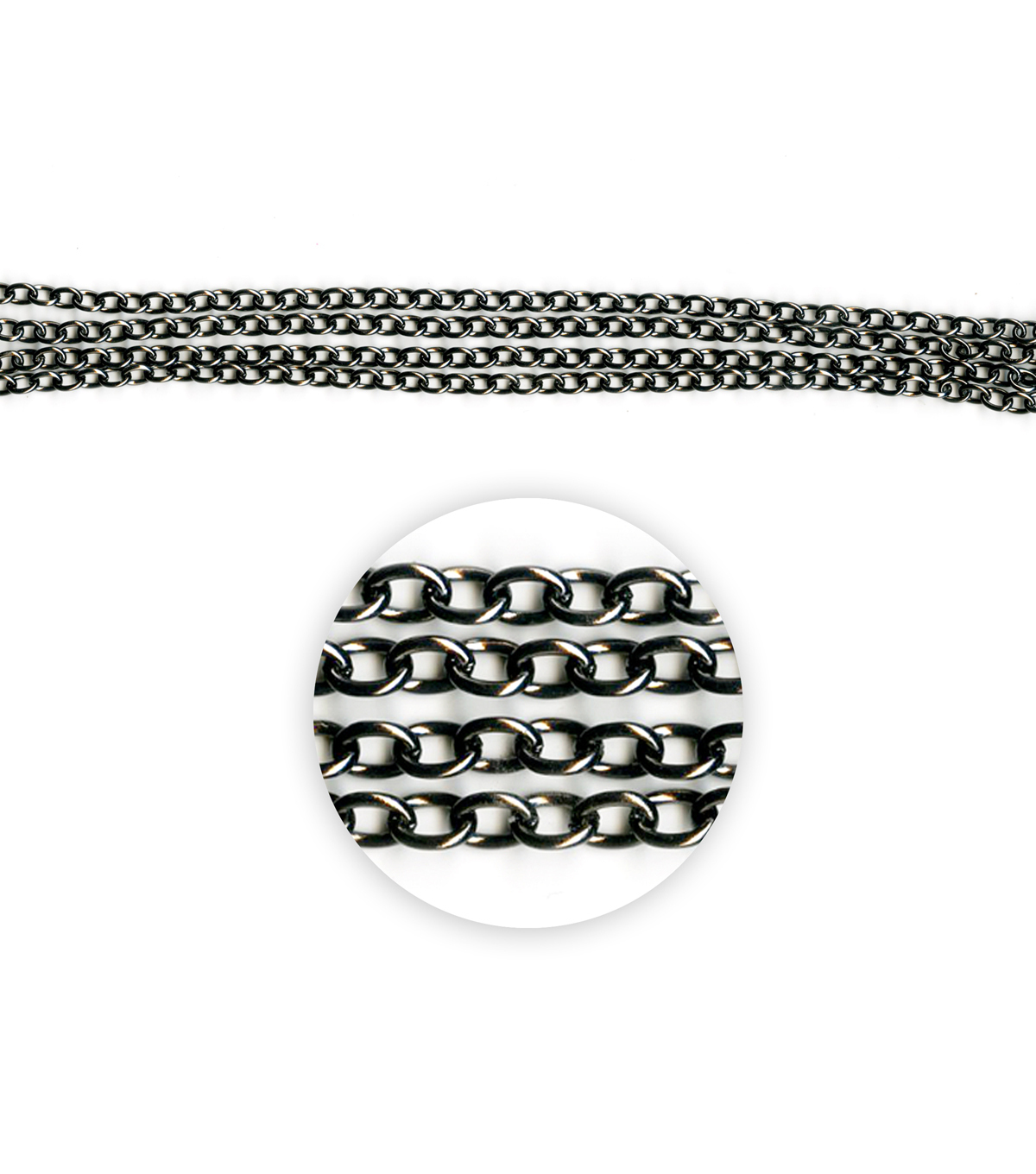 Blue Moon Beads Metal Chain 7x5mm, Oval Cable, Black Nickel-76\u0022