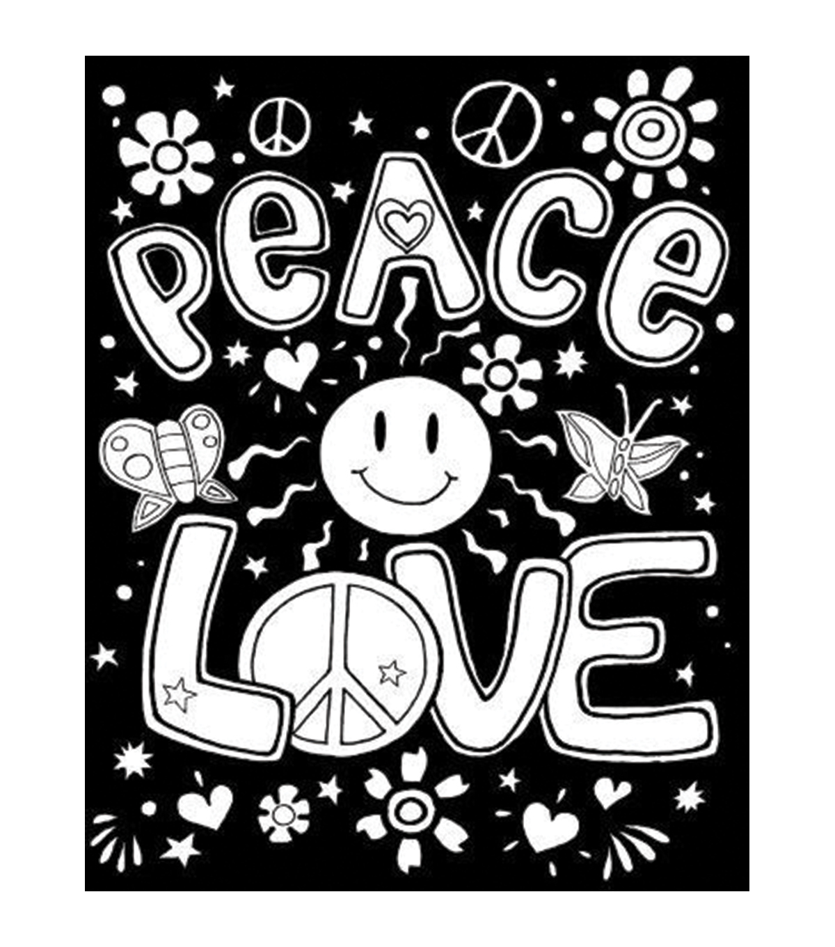 "Darice Color-In Velvet Poster Art Set 16""X20""-Peace, Love, Groovy"