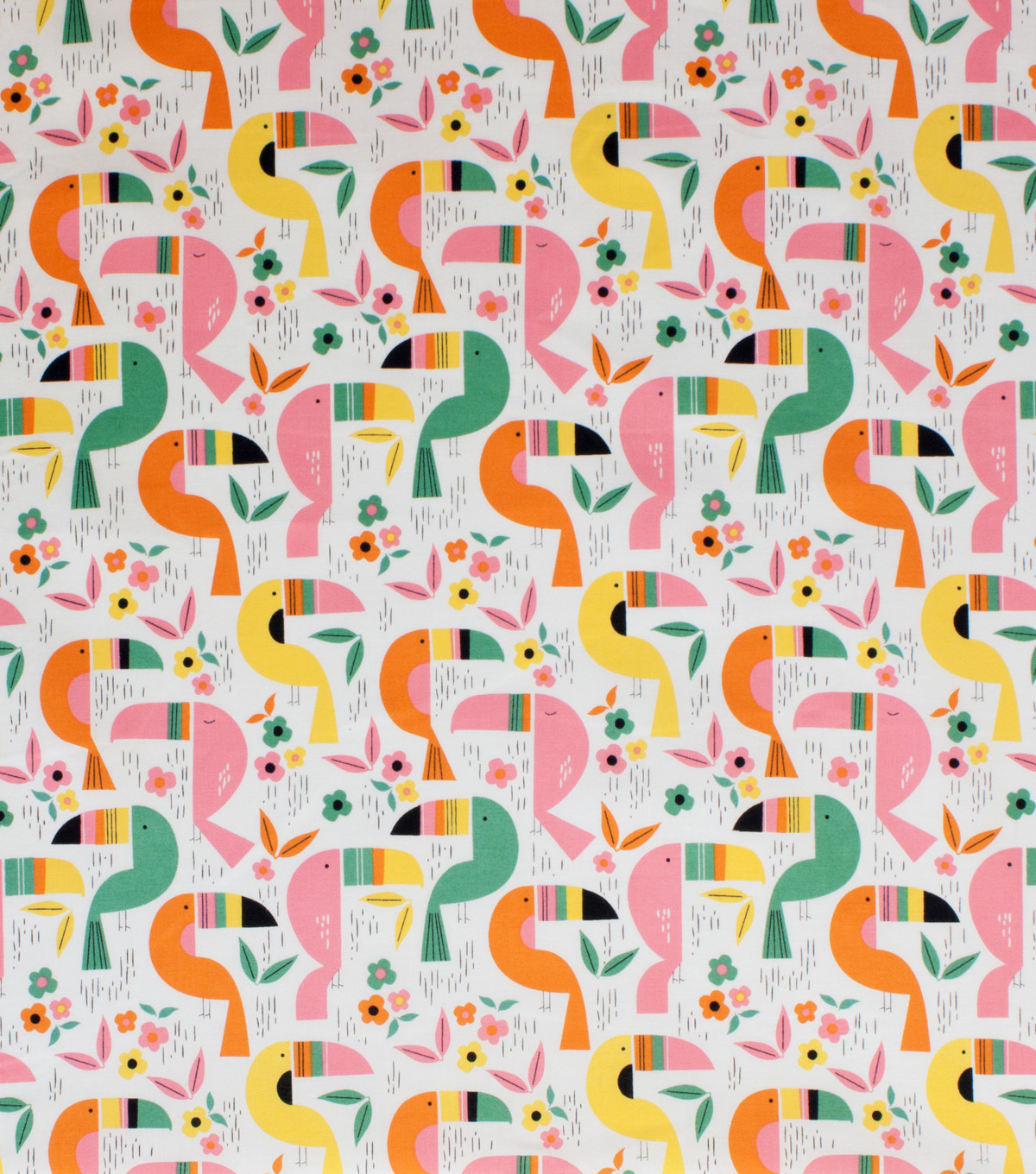 Alexander Henry Cotton Fabric 44\u0022-Toucan Zoo Natural Brite