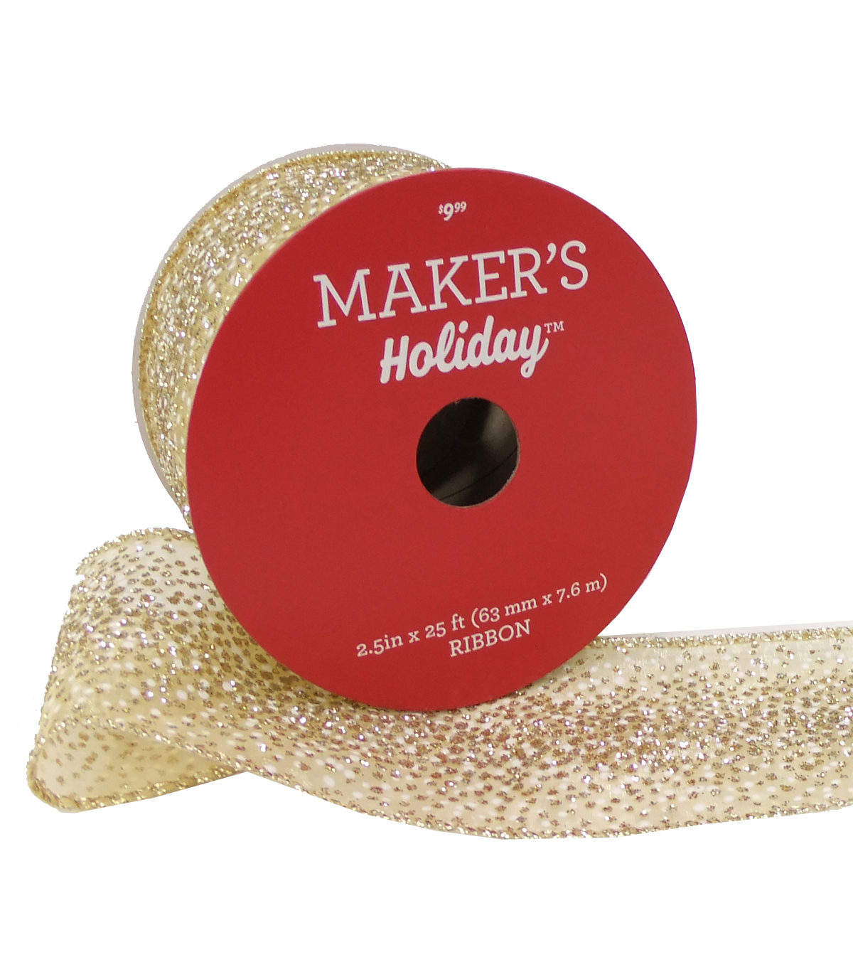 Maker's Holiday Christmas Ribbon 2.5''x25'-Gold Sparkle on Beige