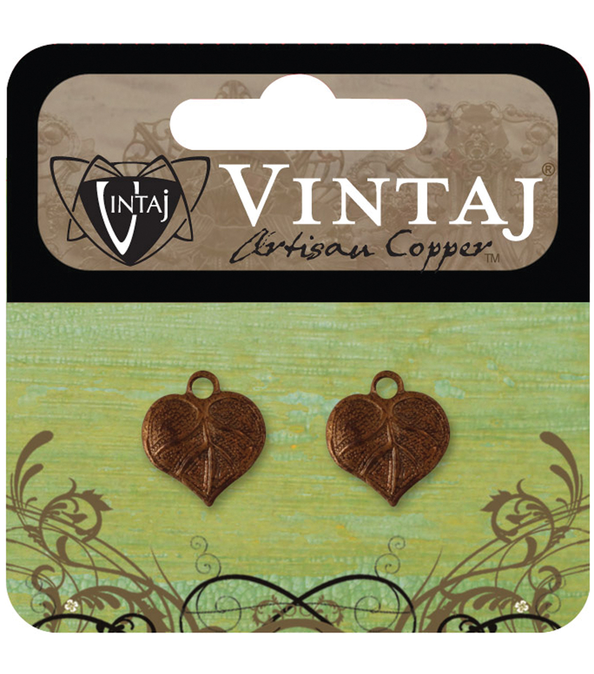 Vintaj Metal Accent 2/Pkg-Teensie Nouveau Leaf 13x12mm
