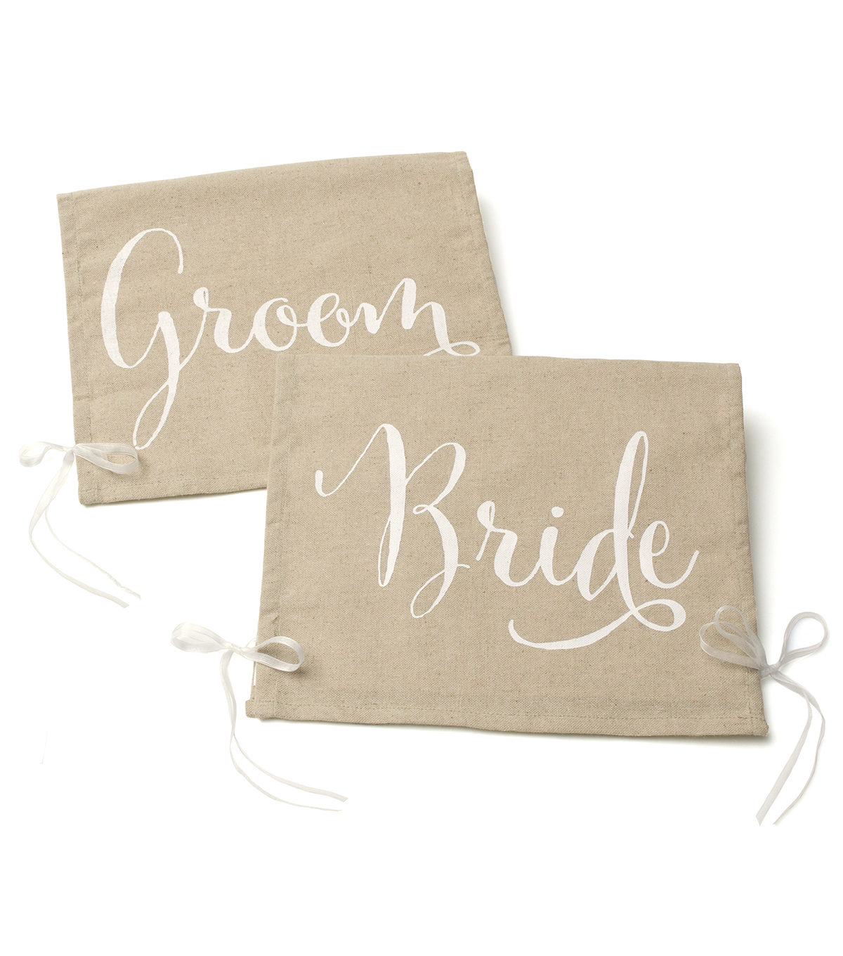 Save The Date Pack of 2 Linen Chair Signs-Bride & Groom