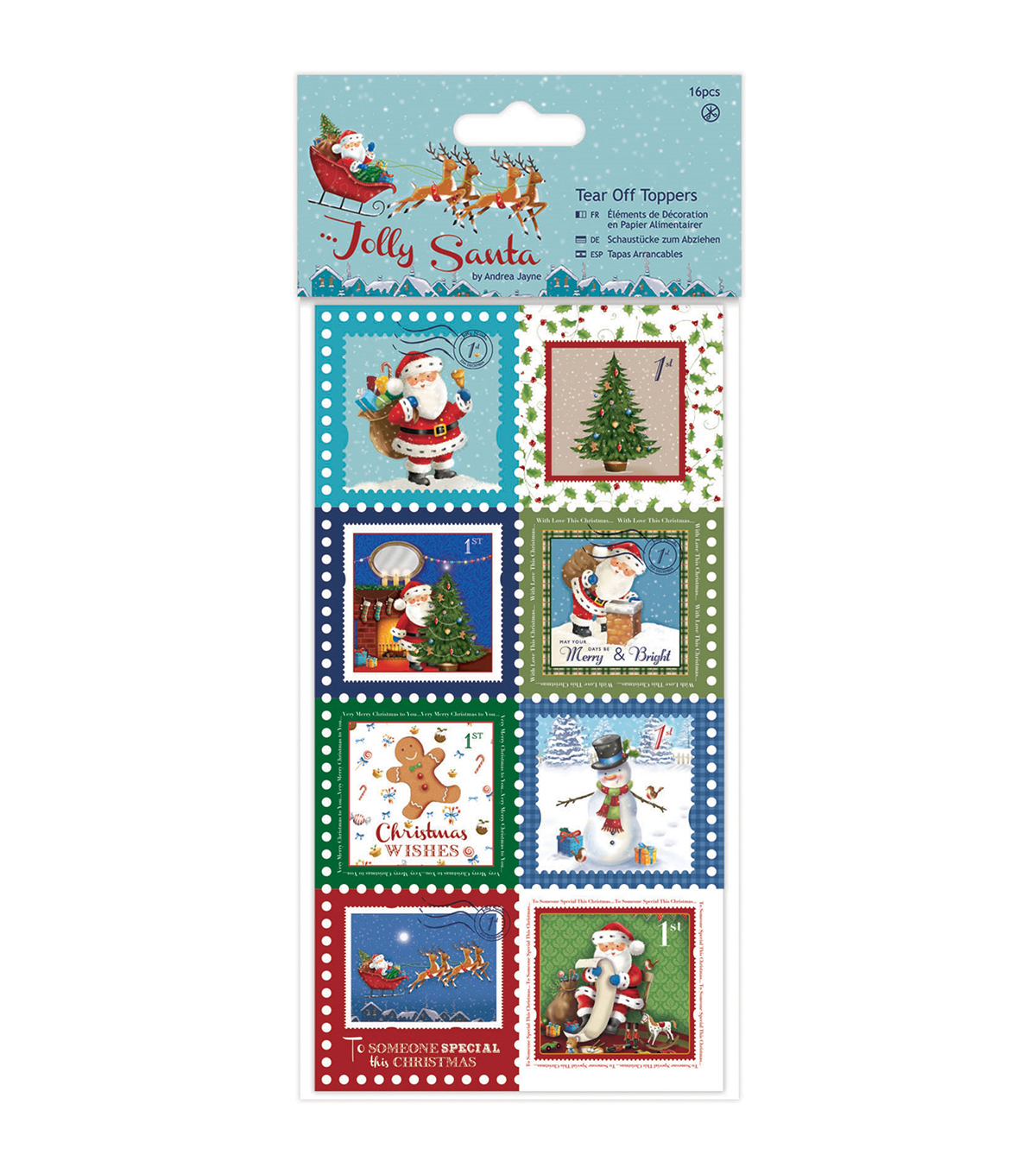 Papermania Jolly Santa 16ct Tear Off Toppers