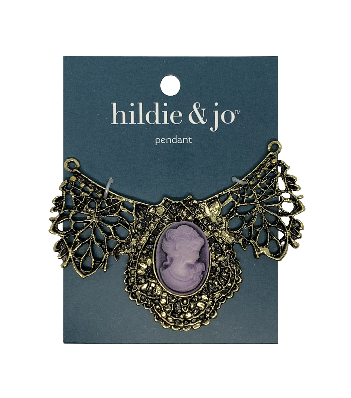 Blue Moon Beads Large Bib Pendant Filigree with Mauve Cameo Antique Gold