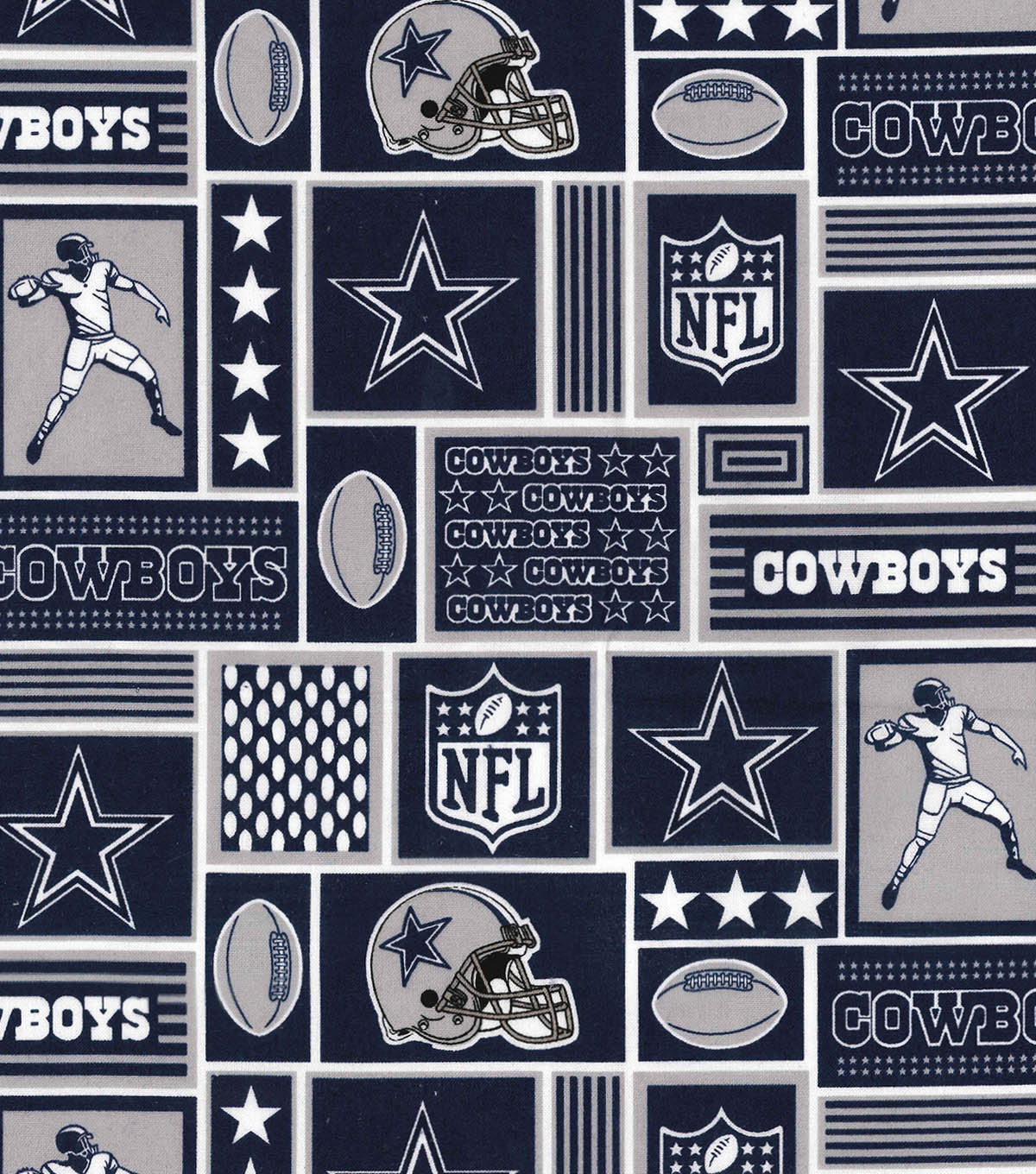 Dallas Cowboys Cotton Fabric 58\u0022-Block