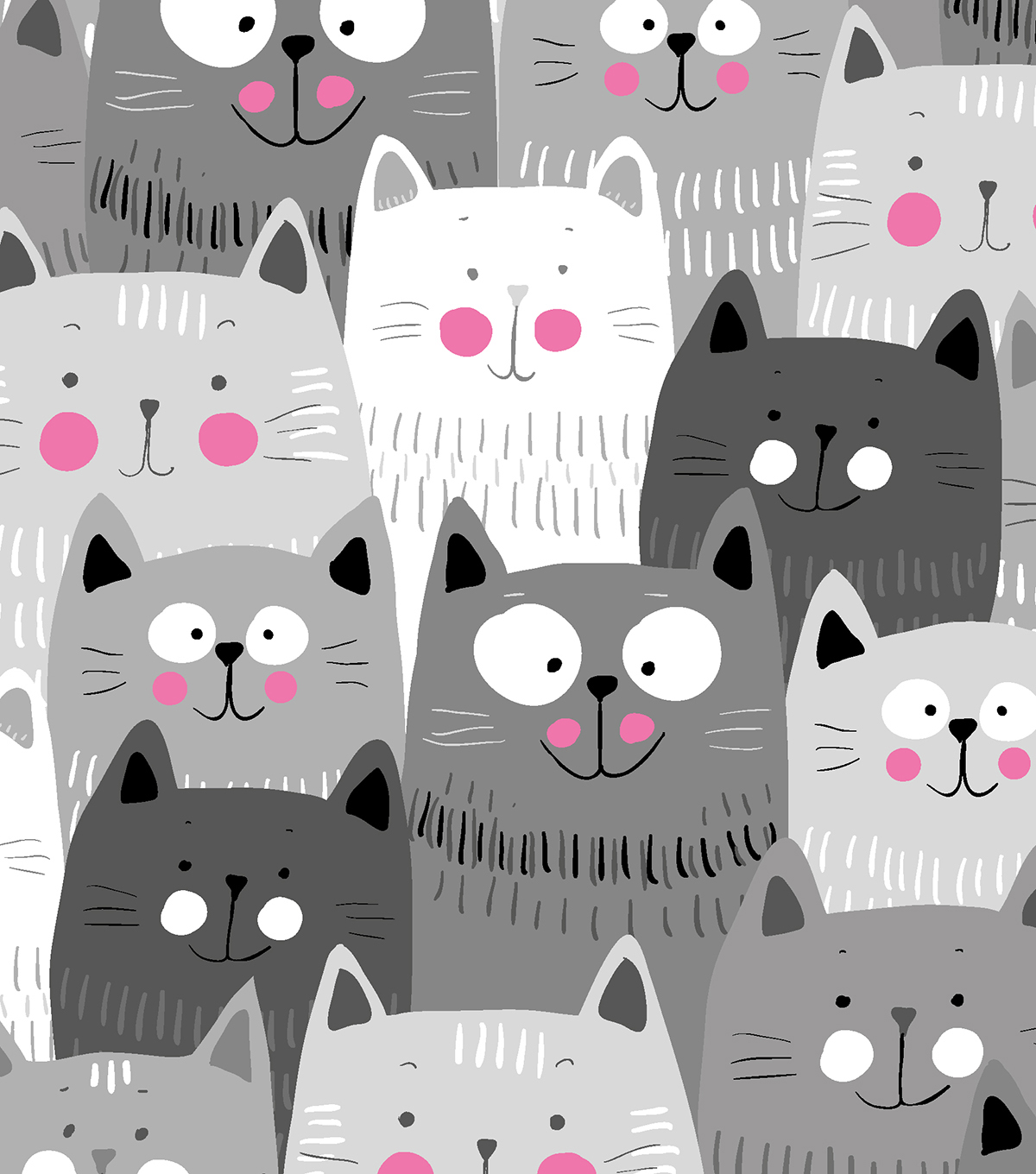 Snuggle Flannel Fabric 42\u0022-Happy Gray Cats