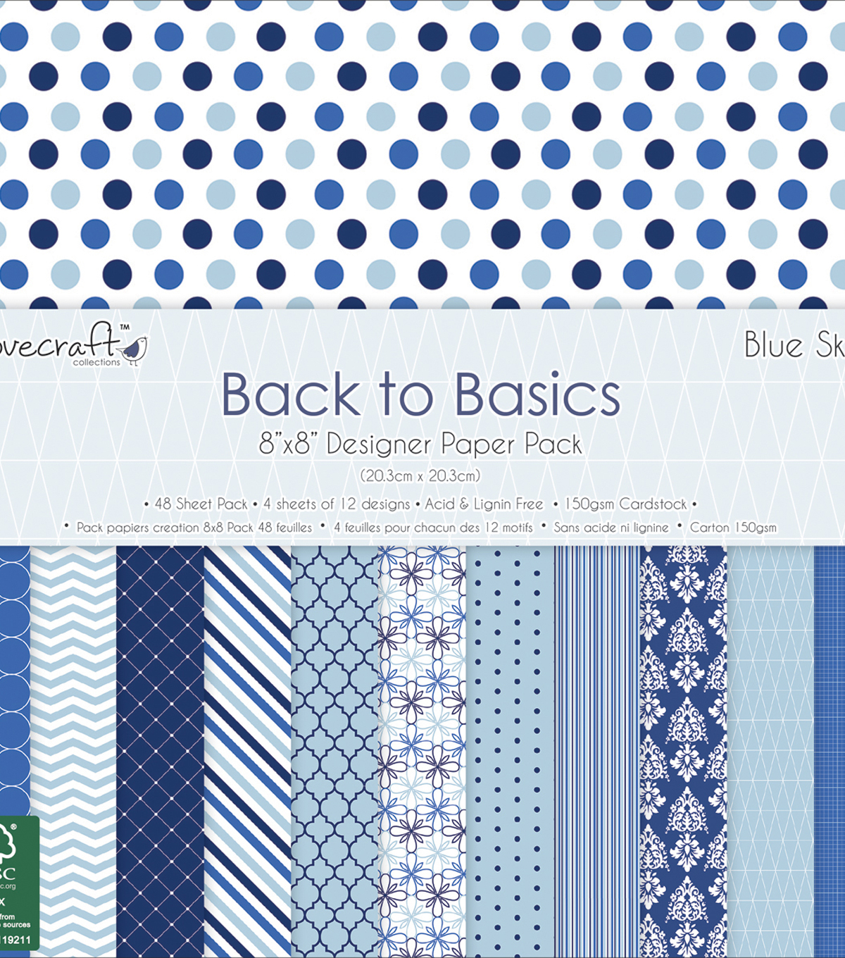 Dovecraft Back To Basics Paper Pack 8\u0022X8\u0022-Blue Skies
