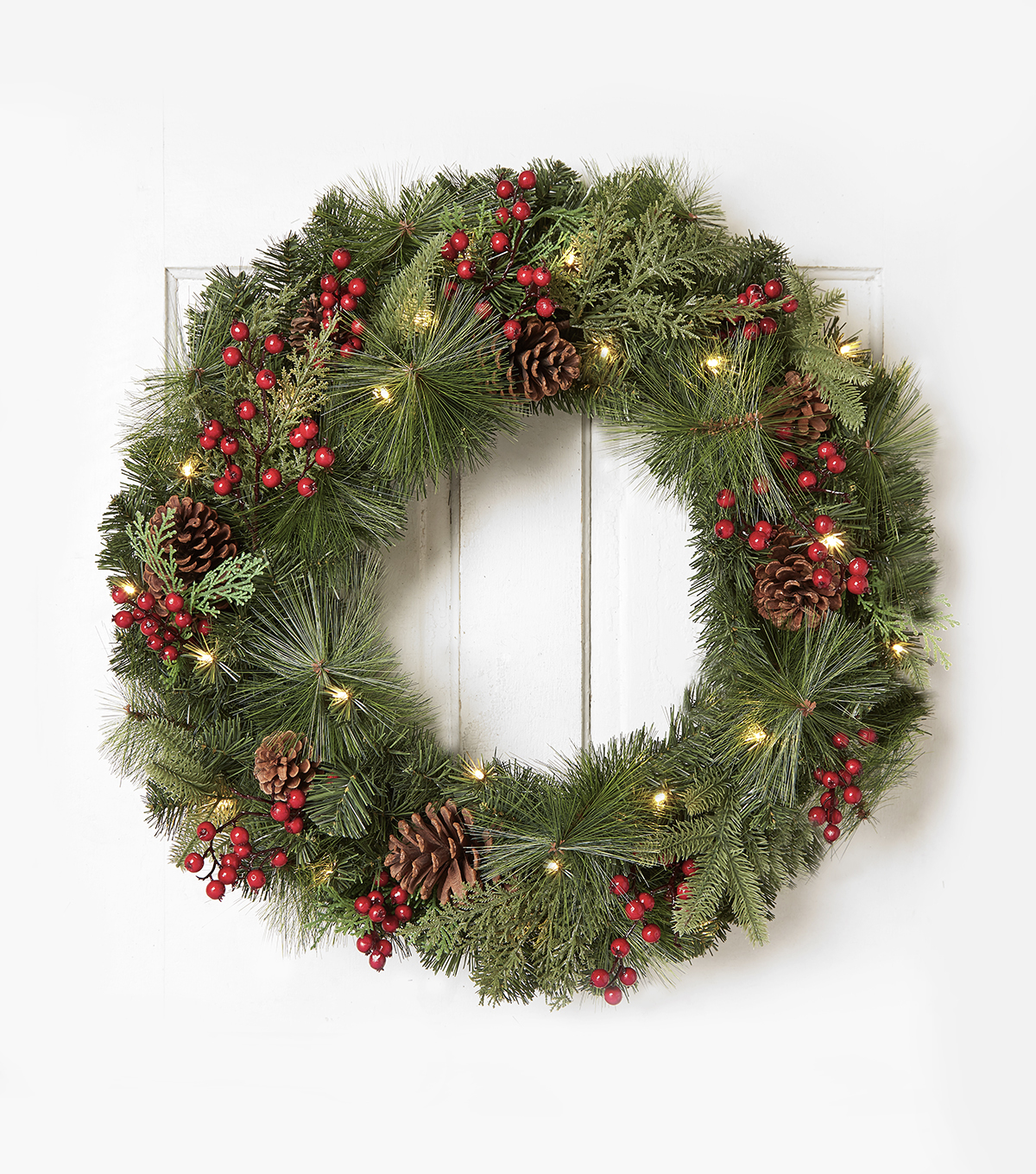 Blooming Holiday 30'' Berry & Pine Lit Wreath