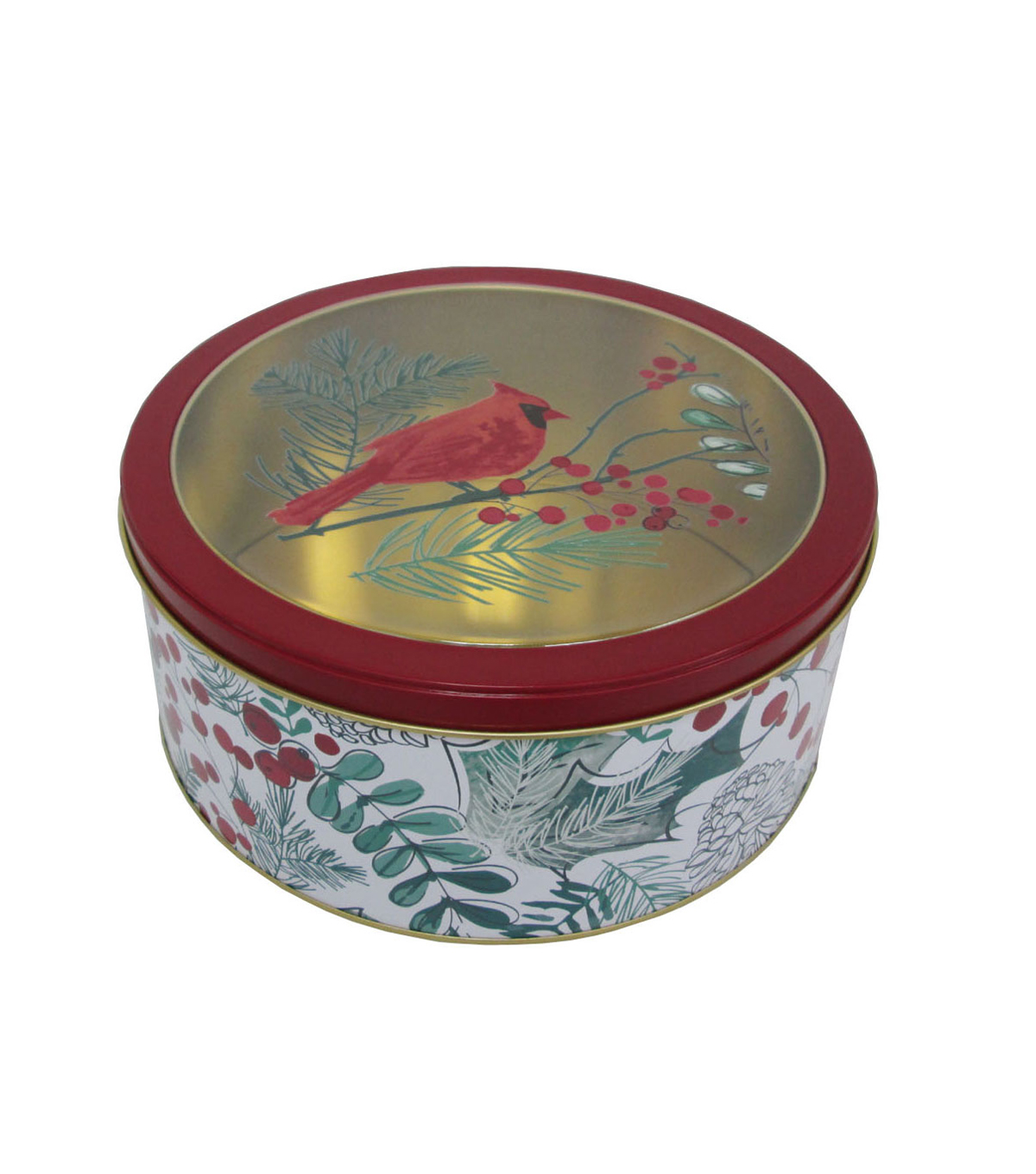 Maker\u0027s Holiday Christmas Large Round Clear Top Cookie Tin-Cardinal