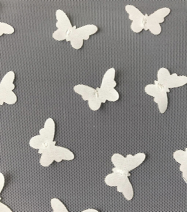 "Sew Sweet 3D Butterfly Mesh Fabric 57""-Snow White"