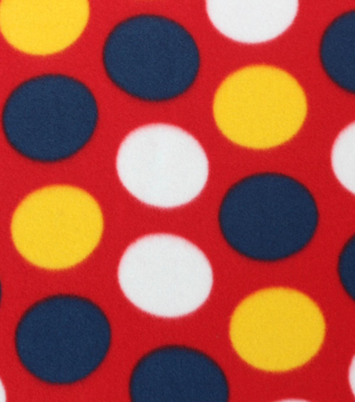 Blizzard Fleece Fabric Yellow Red Blue Dots