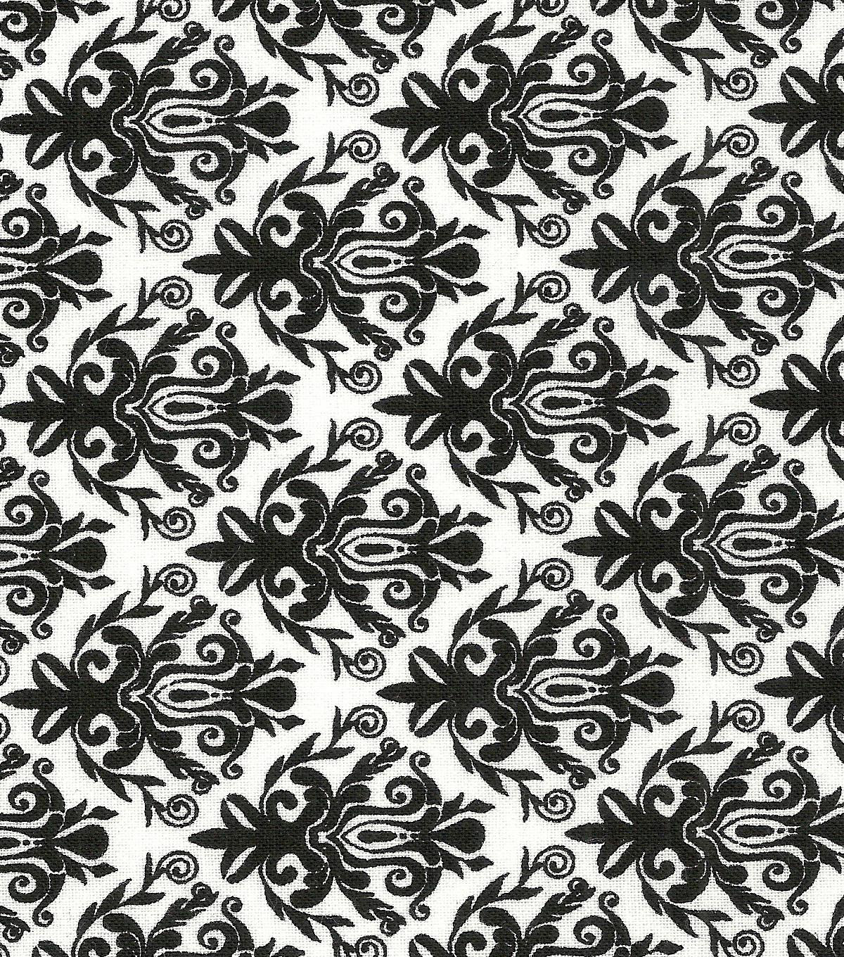 "Quilter's Showcase™ Cotton Fabric 44""-Black Damask"
