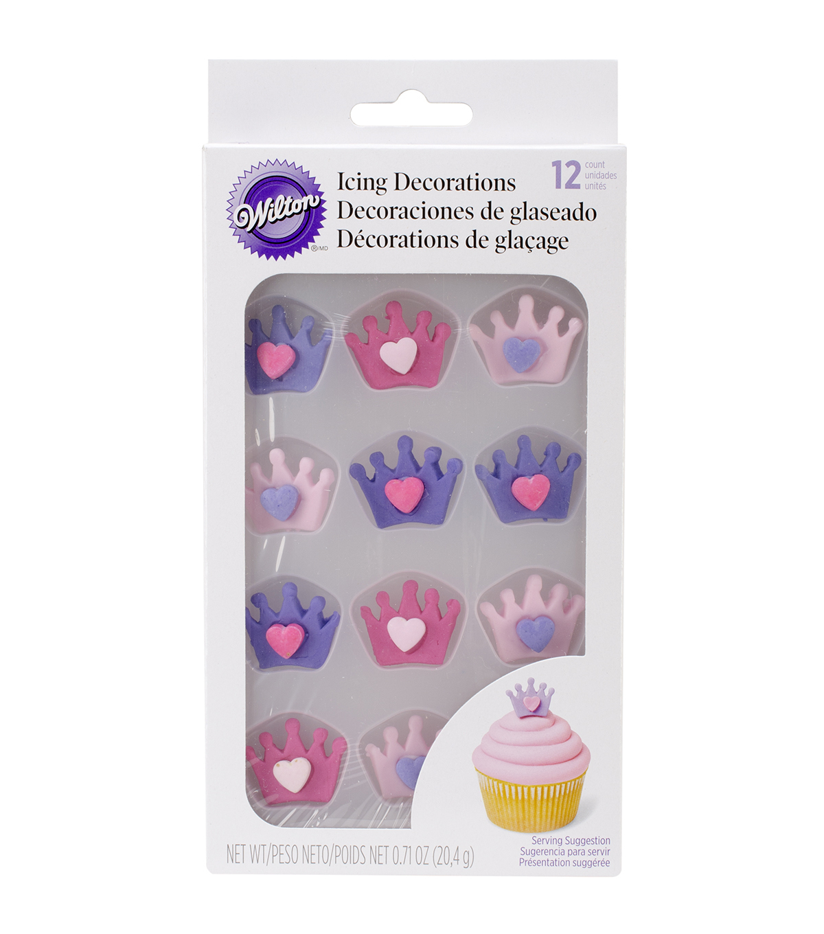 Icing Decorations 12/Pkg-Crowns W/Hearts