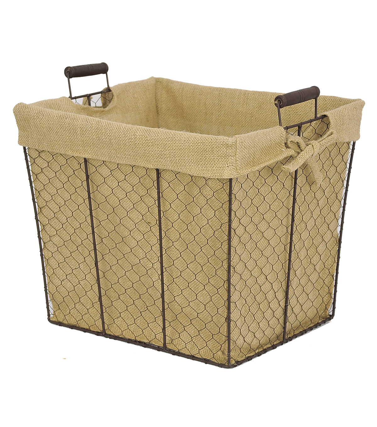 Organizing Essentials™ 15x12 Wire Basket with Burlap Liner