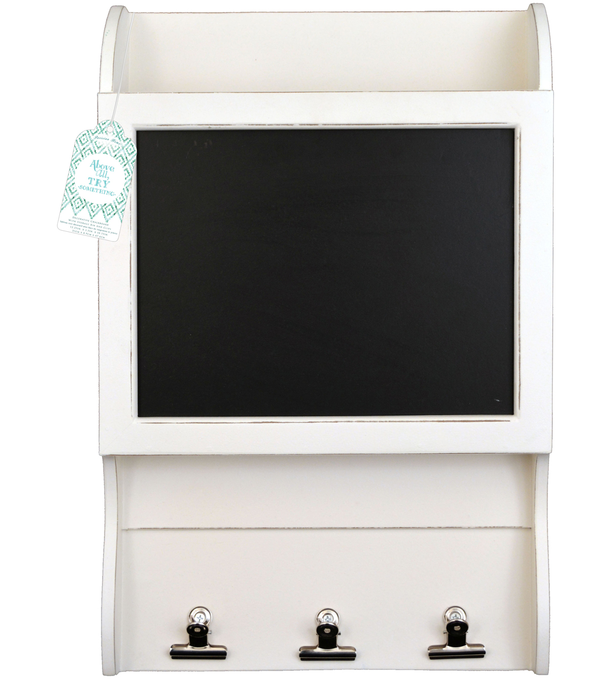 12.2\u0022 x 18.7\u0022 Distressed Chalkboard Wall Cabinet with Clips-White
