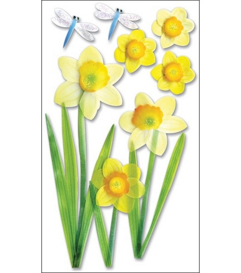 Vellum Layered Stickers-Daffodils