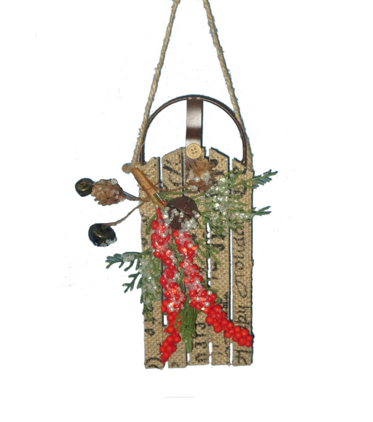 Maker's Holiday Christmas Woodland Lodge Burlap Sled With Bells Ornament