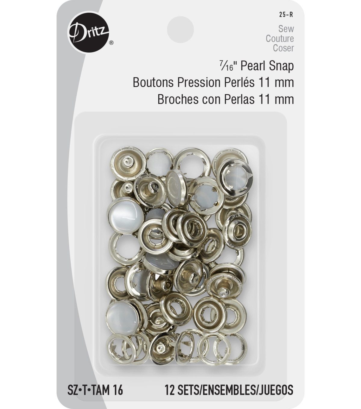 Prym Dritz Decorative Pearl Snap Fasteners White Pearl