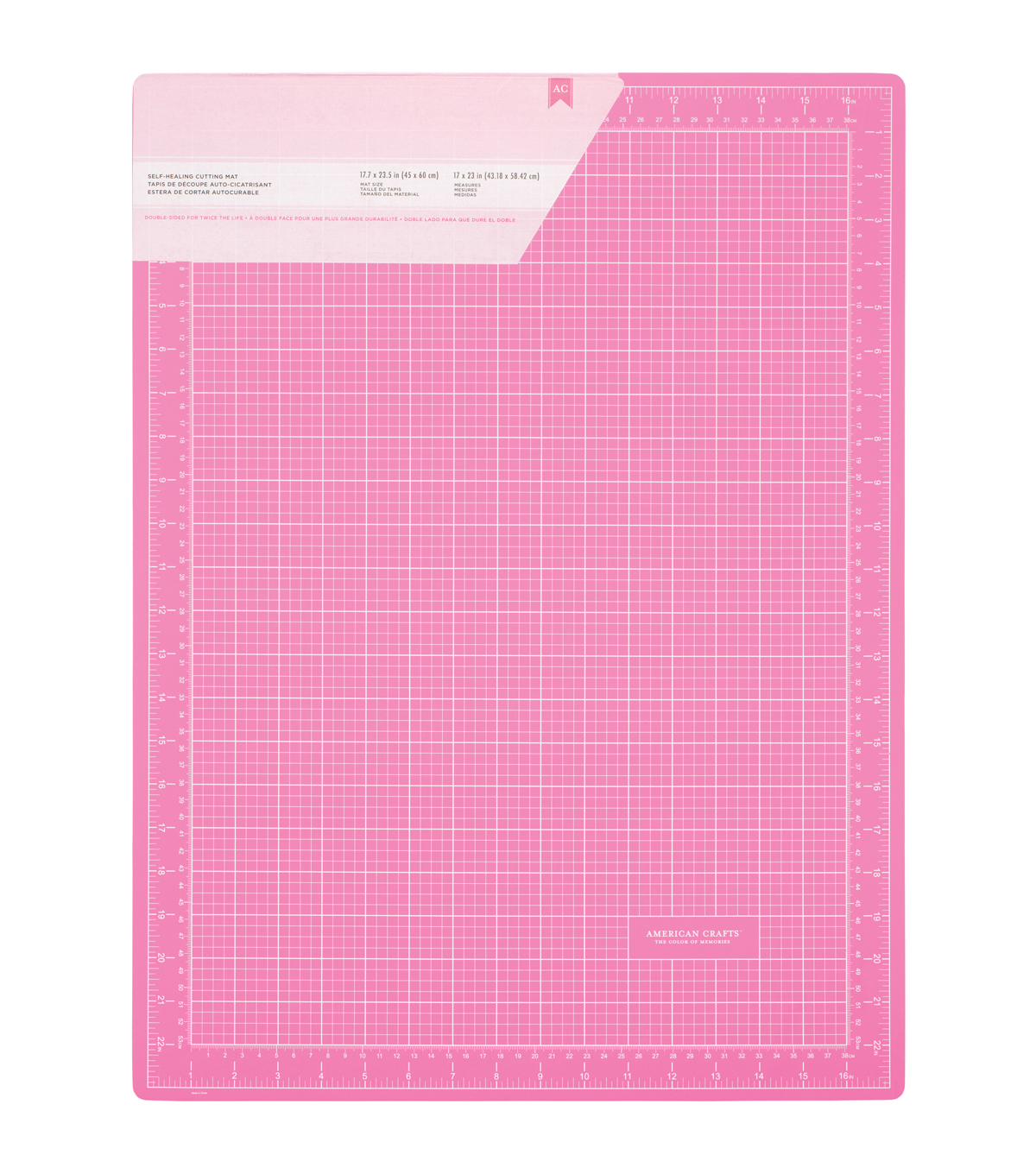 Pink Double-Sided Self-Healing Cutting Mat 18\u0022X24\u0022-