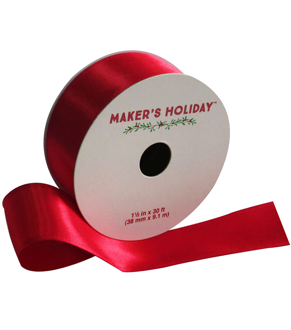 Maker's Holiday Satin Ribbon 1.5''x30'-Red