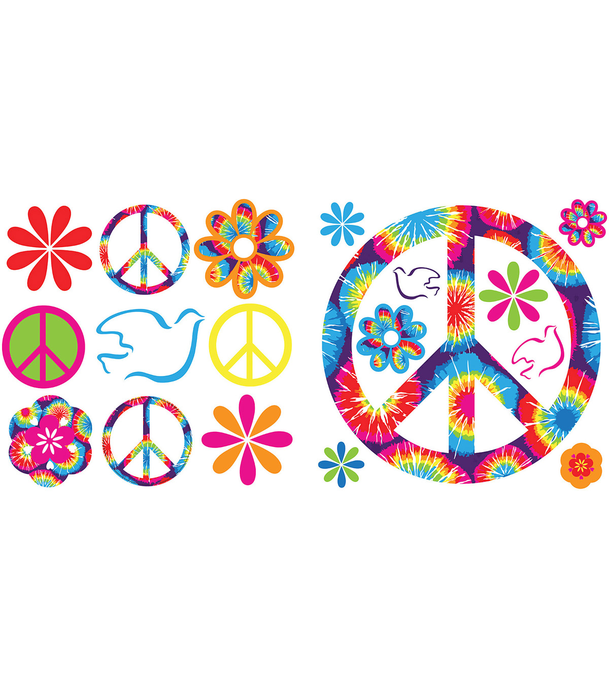 Wall Pops Tie-Dye Peace Appliques, 37 Piece Set