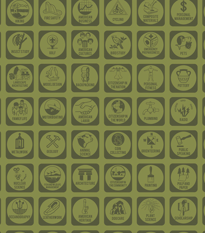 Boy Scout Flannel Fabric 43\u0022-Merit Badges