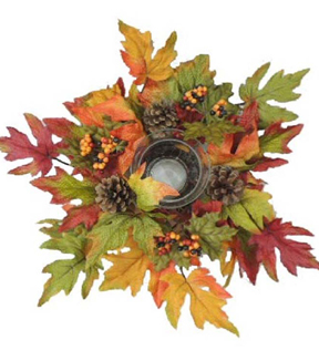 Blooming Autumn 12\u0027\u0027 Maple Leaves & Pinecone Candle Holder