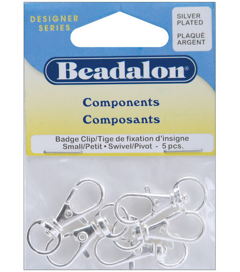 Small Swivel Badge Clip 5/Pkg-Silver Plated