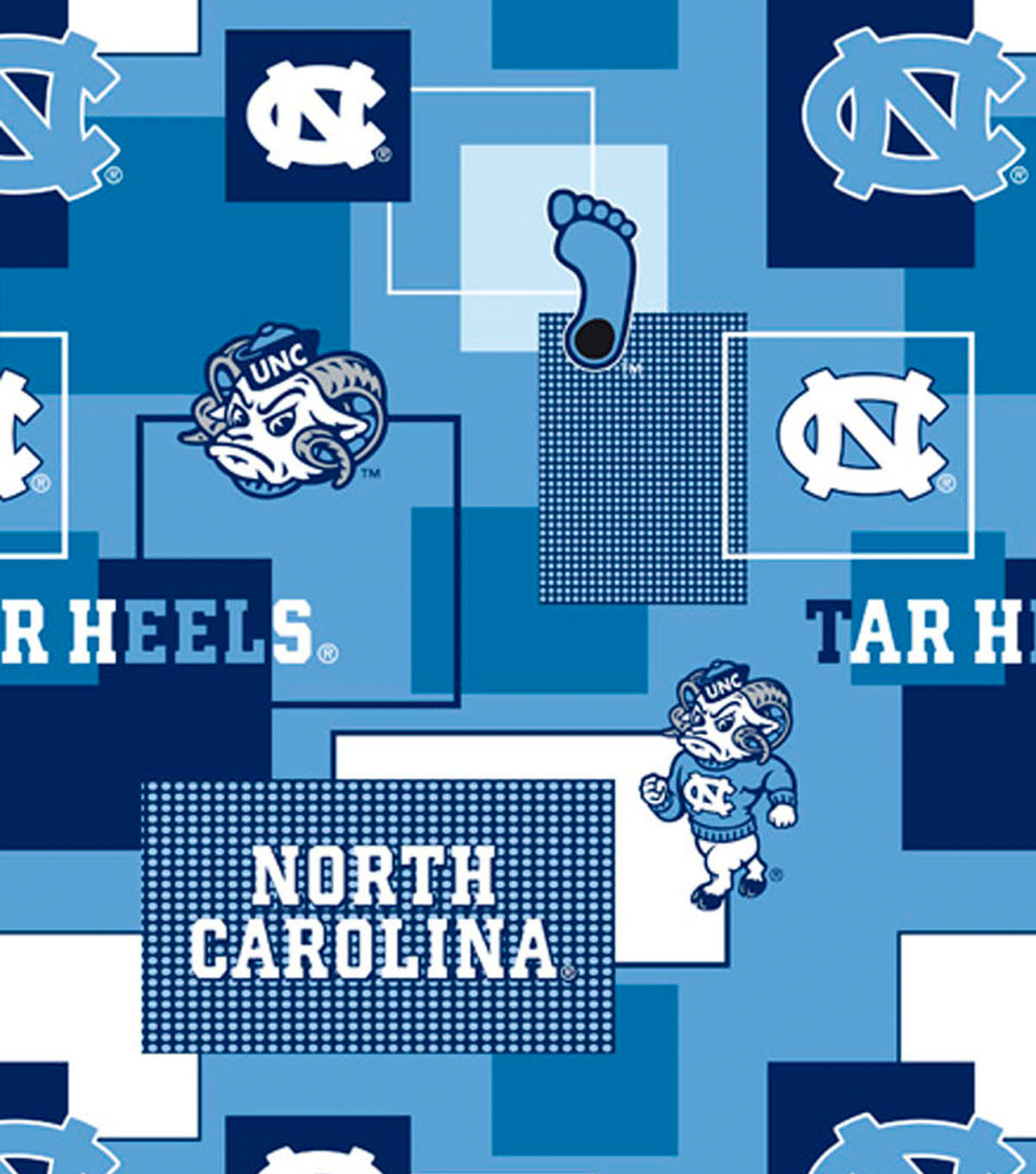University of North Carolina Tarheels Cotton Fabric 44\u0022-Black
