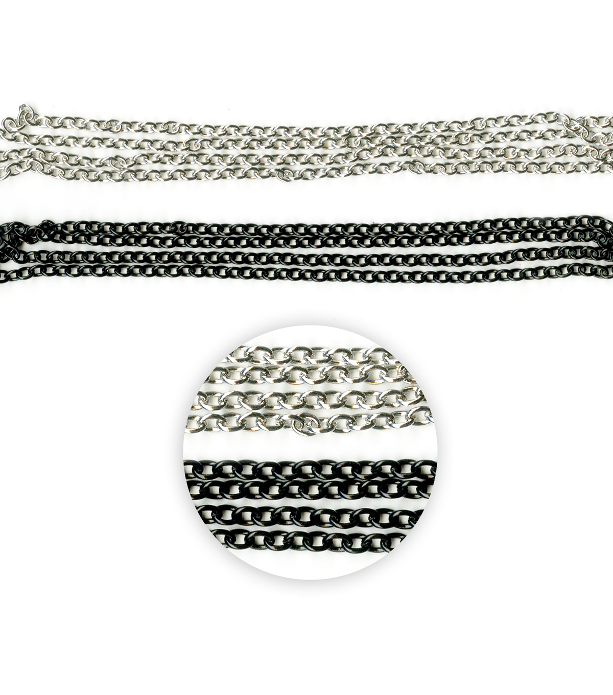 Blue Moon Beads Metal Chain, Oval Cable, Black Enamel, Silver-27\u0022