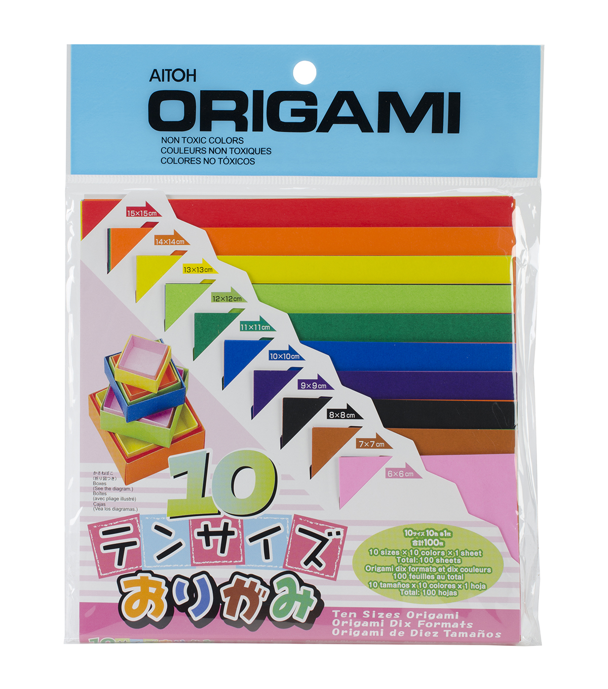Aitoh Asst Sizes Origami Paper 100/Pk
