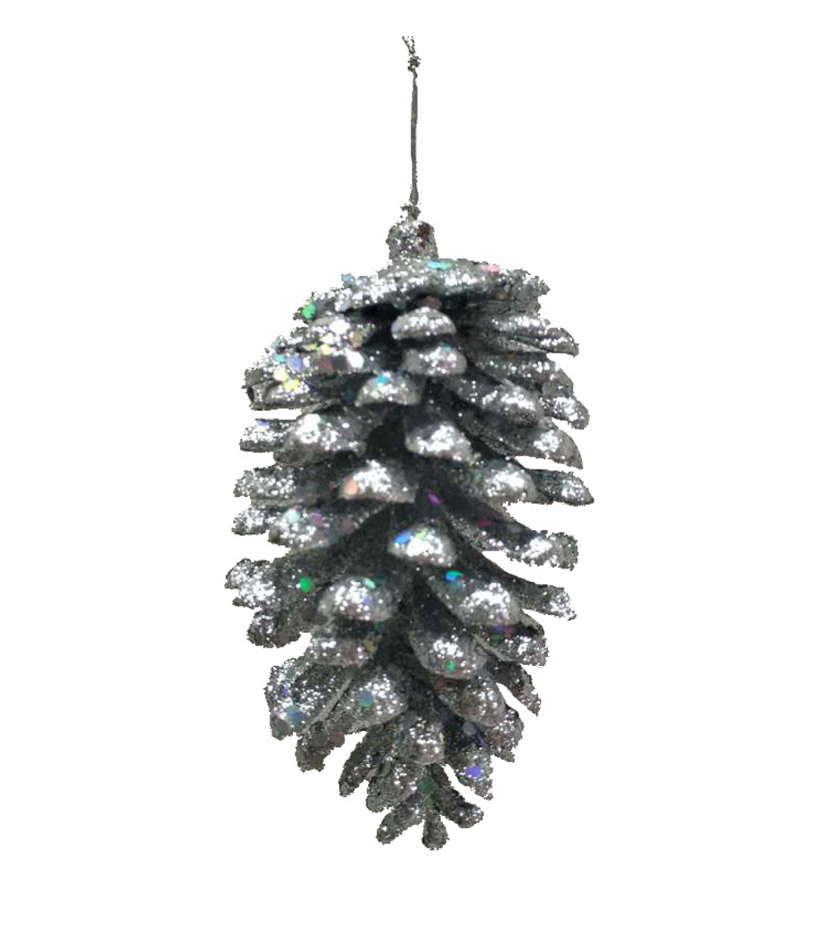 Maker\u0027s Holiday Christmas Arctic Frost Pinecone Ornament-Silver