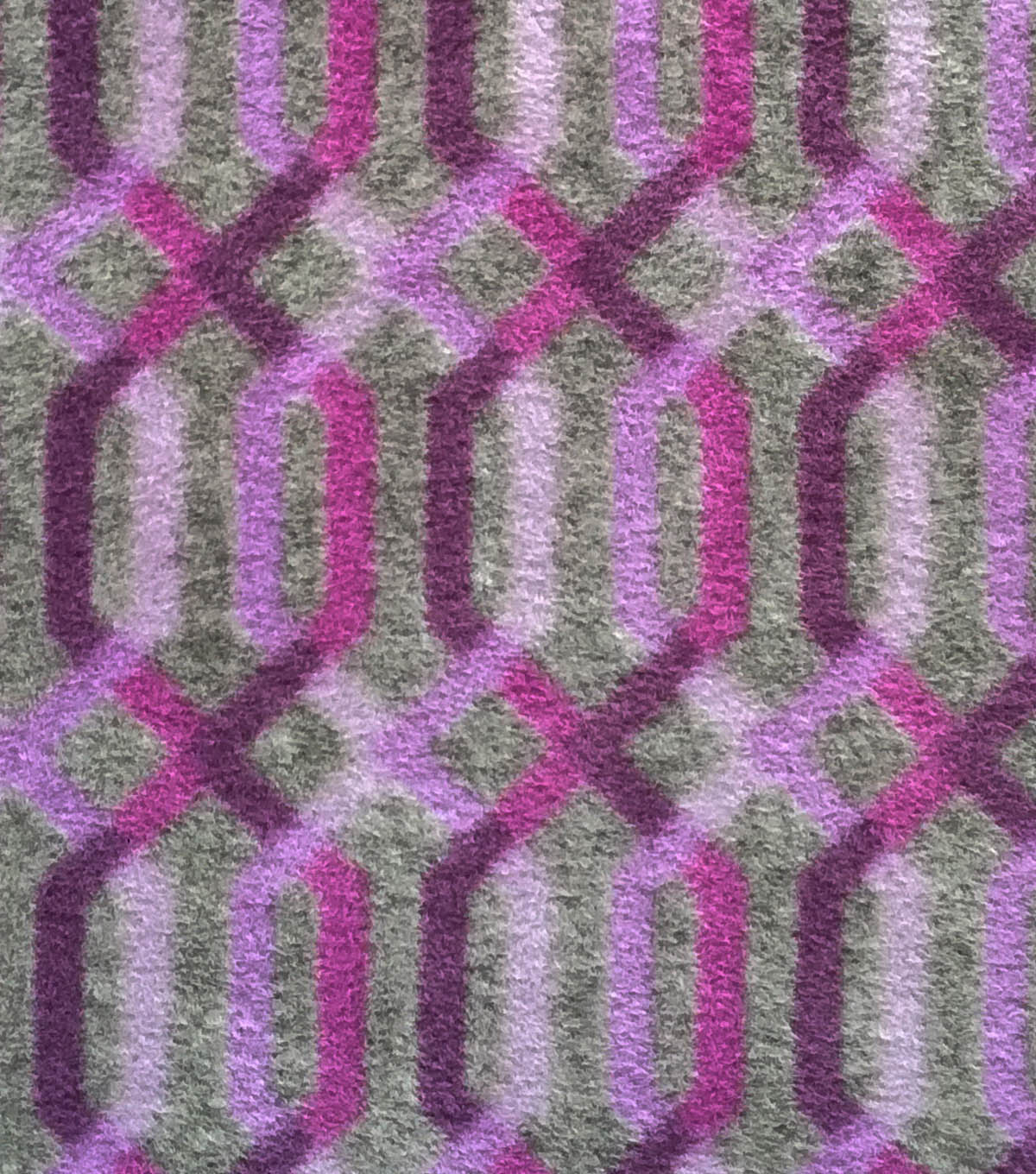 Luxe Fleece Fabric 59\u0022-Plum & Gray Lattice