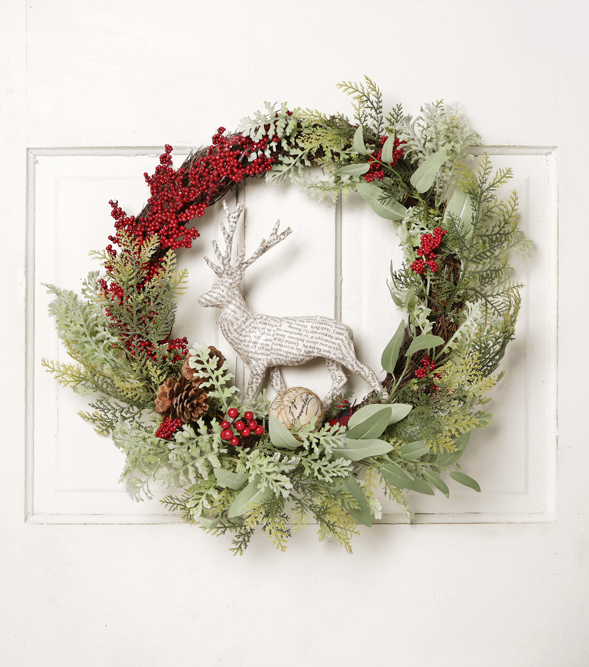 Blooming Holiday 24'' Deer, Grapevine, Berry & Pinecone Wreath