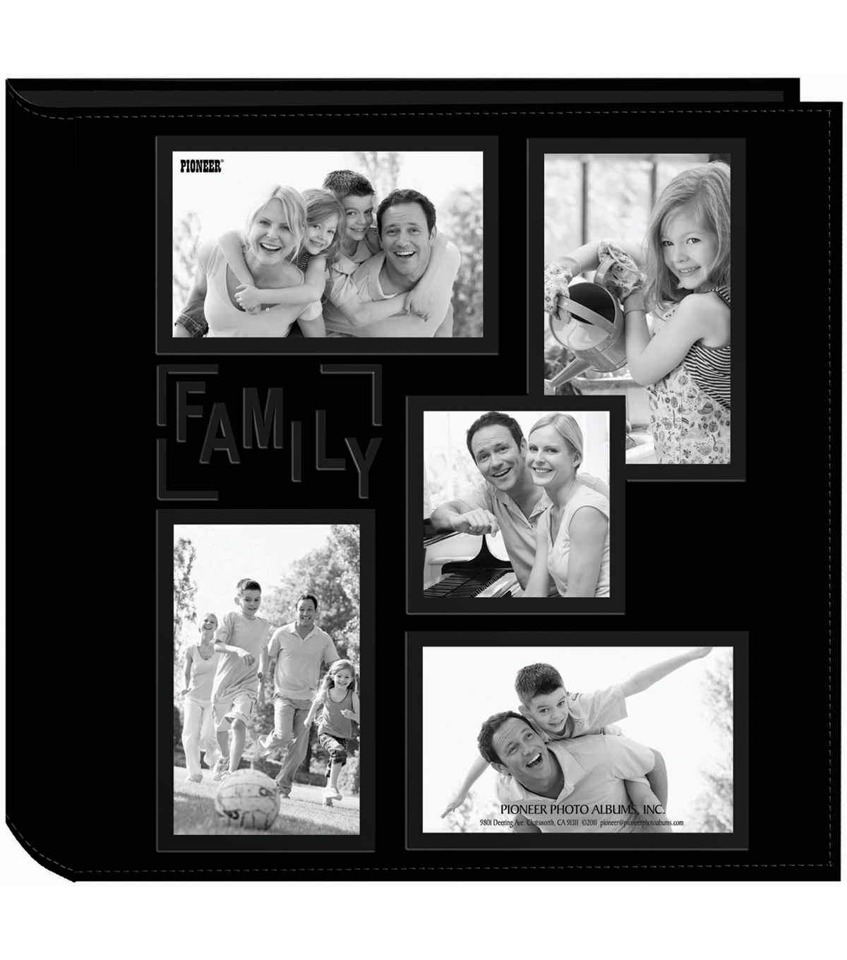 "Pioneer 5-Up Collage Frame Sewn Embossed Photo Album 12""X12""-Black"