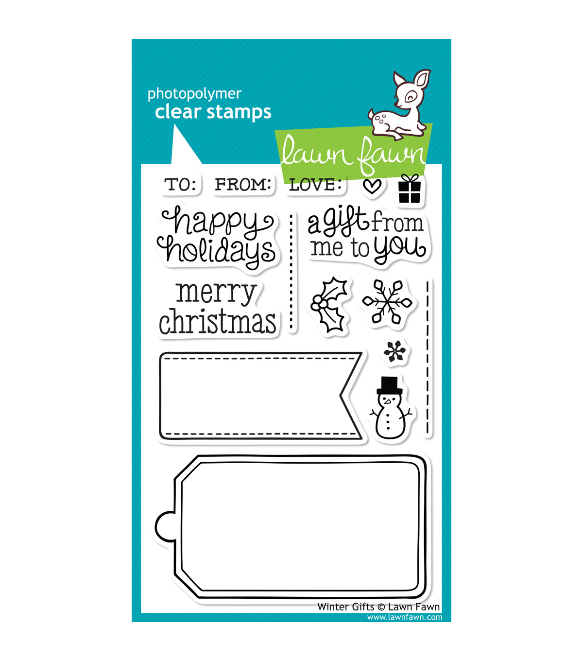 "Lawn Fawn Clear Stamps 4""X6""-Winter Gifts"