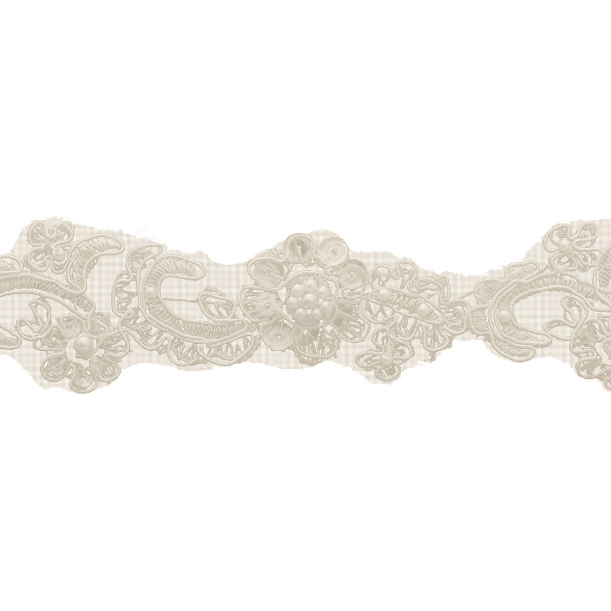 Narrow Bridal Lace Beads 10Yd Ivory